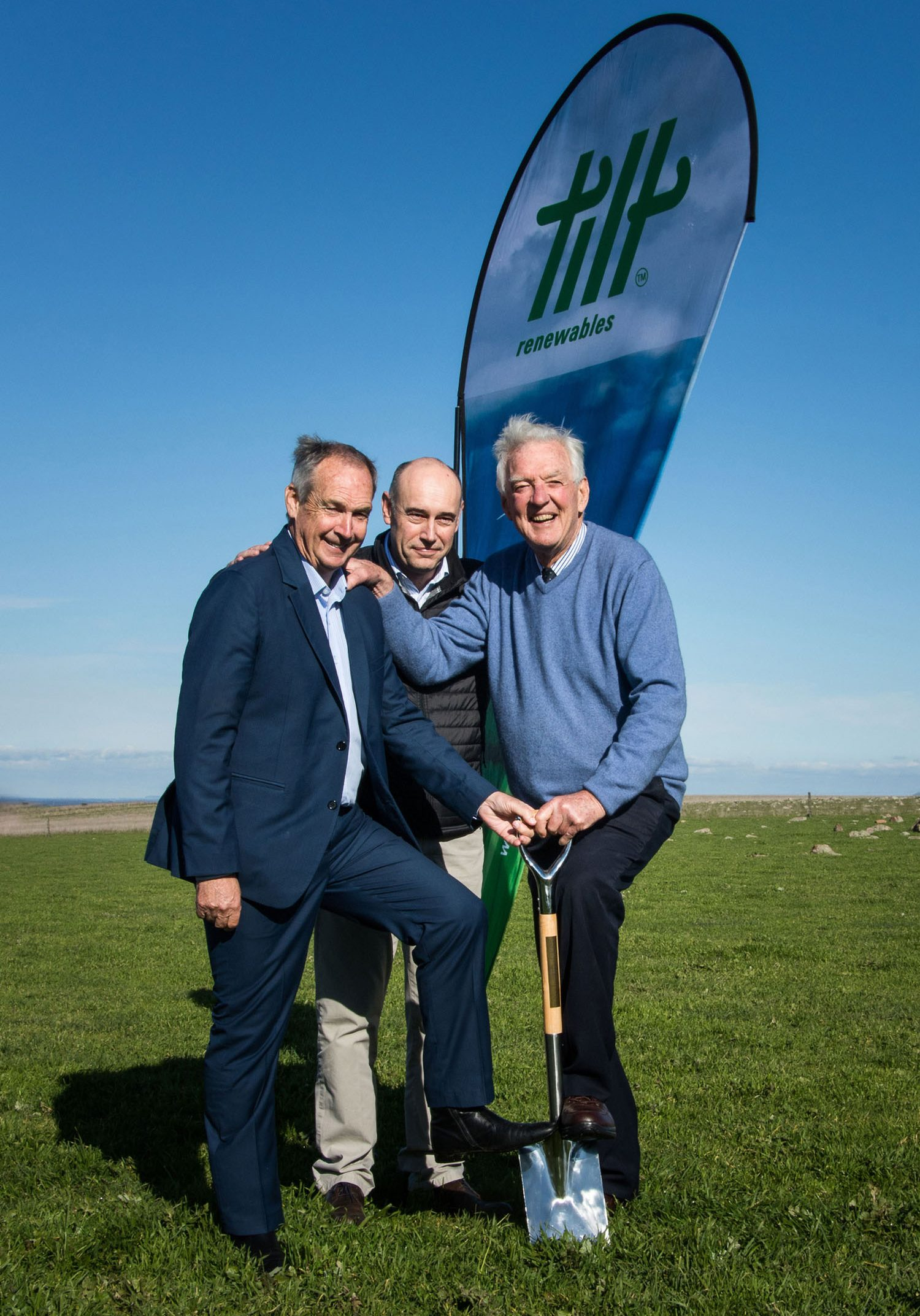 Turning the first sod at the Salt Creek Wind Farm Left to right: James Purcell MP, Robert Farron, Peter Coy Image Credit: Emily Wilson Photography